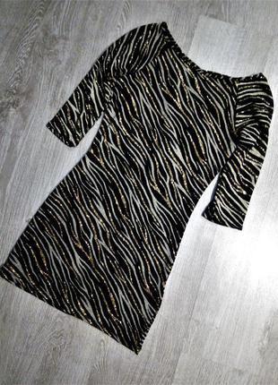 Вечернее блестящее платье люрекс-глитер-золото с красивой спин...