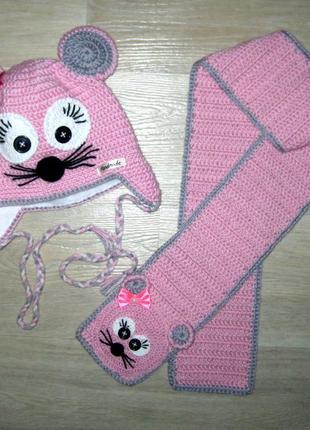 Демисезонная шапка на флисе + шарф для девочки handmade ручная...