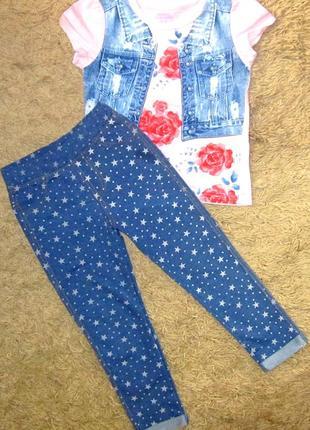 Нарядный хлопковый костюм для девочки размер 104-110 футболка ...