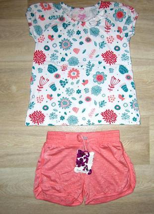 Нарядный летний костюм для девочки размер 104-110 футболка тун...