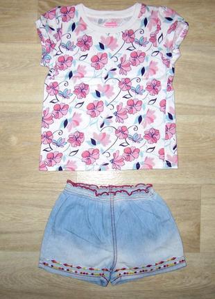 Нарядный летний костюм для девочки размер 104-110 футболка шорты