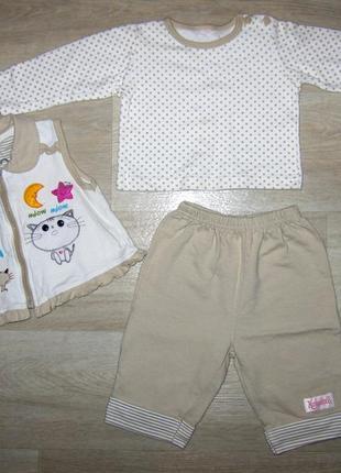 Хлопковый фирменный костюм тройка для девочки размер 3-6 месяц...