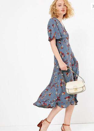 Платье миди из вискозы на запах( имитация)