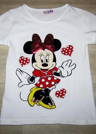 Летняя хлопковая футболка для девочки размер 110-116 турция