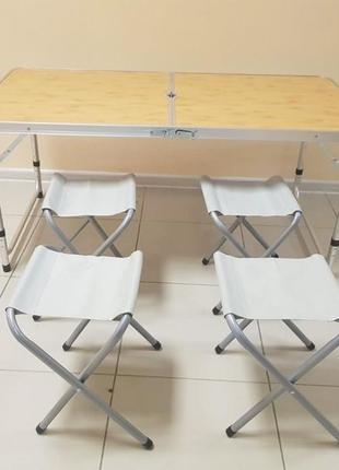 Стол и 4 стула комплект для кемпинга, туризма, сада, стол тури...