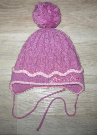Шапка зимняя для девочки с вышивкой на флисе очень удобная модель