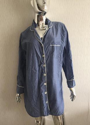Халат рубашка с белым кантом sleep lounge