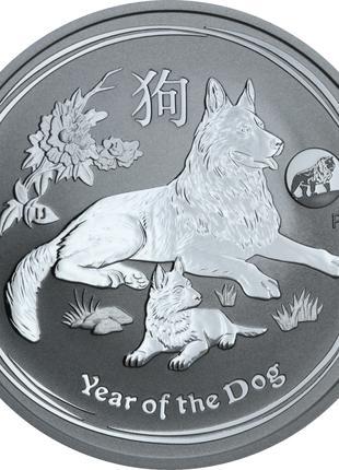 Серебряная монета Год собаки 2018 Австралия 1 доллар 1oz