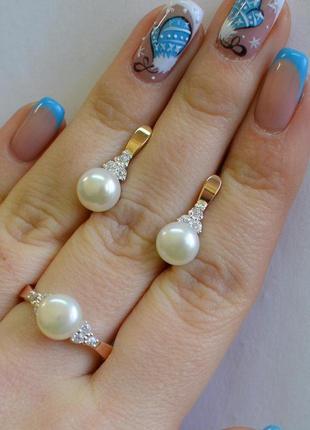 Серьги кольцо серебряные с золотом и жемчугом - 111