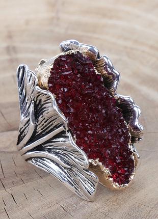 💍массивное кольцо, перстень с гранатовым камнем, бижутерия люк...