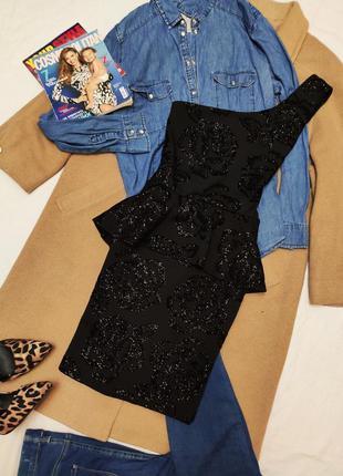 Quiz вечернее чёрное платье на одно плечо с баской праздничное...