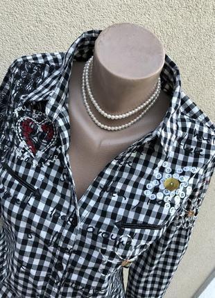 Рубашка,блуза в клетку с вышивкой,хлопок,этно бохо стиль