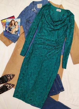 Dennis day платье гипюровое бирюзовое зелёное миди футляр кара...
