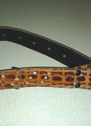 Ошейник для собаки крупной породы кожаный со стразами