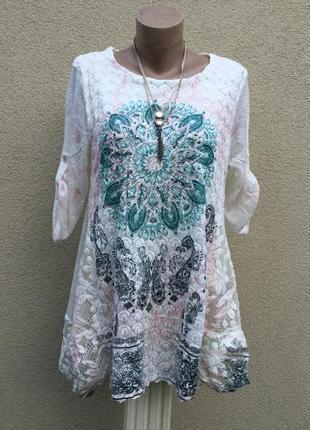 Трикотаж блуза,туника с кружевом,этно,бохо стиль