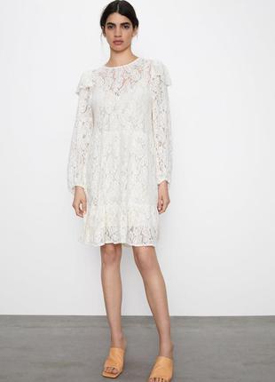 Платье белое гипюровое zara