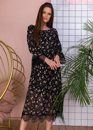 Шикарное шифоновое платье миди черный цвет