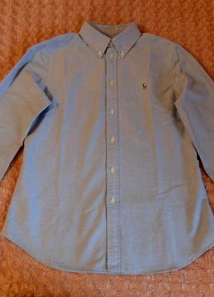 Мужская, хлопковая, голубая рубашка ralph lauren