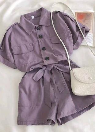 Женский комбинезон шорты на пуговицах