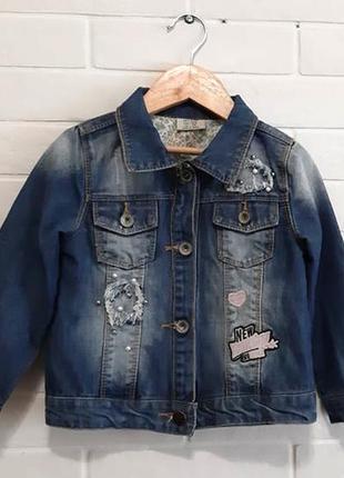 Джинсовая курточка на девочку р.110 см 4-5 лет uky kids