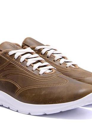 Мужские кожаные кроссовки yavgor olive