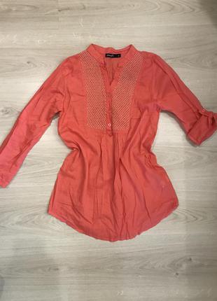 Фирменная блуза кораллового цвета  / рубашка