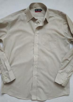 """Бежевая рубашка """"m&s"""" tailoring non iron"""