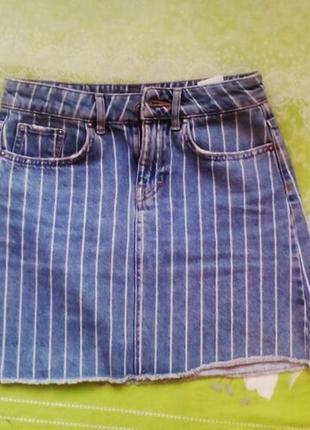 Винтажная джинсовая юбка в полоску