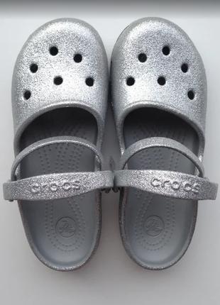 Sale кроксы crocs glitter silver оригинал j2 р. 33-35 21см-22см
