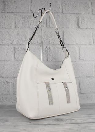 Мягкая повседневная сумка хобо velina fabbiano 572159 белая