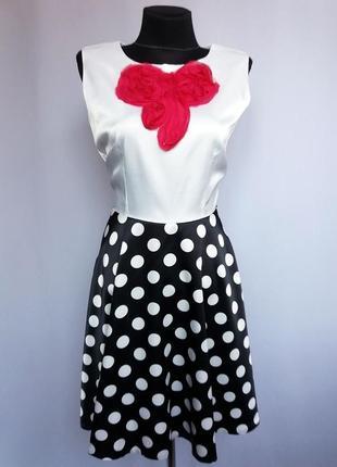 Суперцена. стильное платье, белый верх и юбка горох. турция. н...