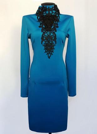 Суперцена. стильное бирюзовое платье. кружево. турция. новое, ...