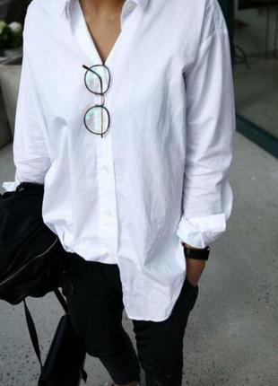 Белая хлопковая удлиненная оверсайз рубашка бойфренд