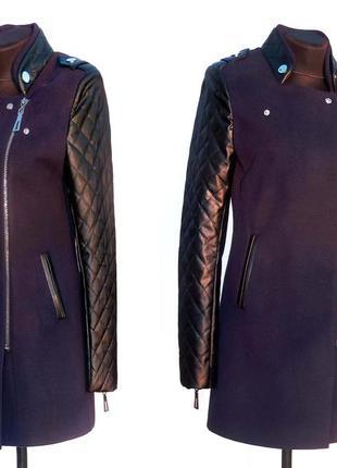 Дешево. эффектное молодежное пальто. кашемир и кожа. качество....