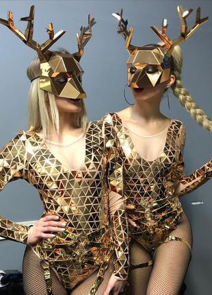 Зеркальные полигональные маски, костюмы для шоу, аниматоров