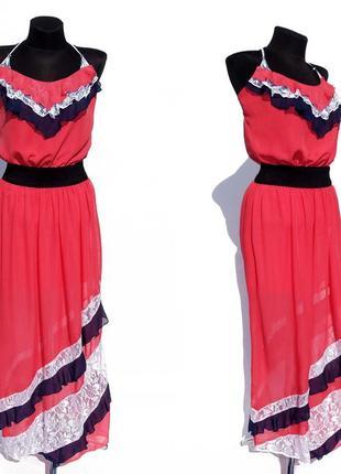 Распродажа. шикарное платье сарафан. шифон с гипюром. размеры ...