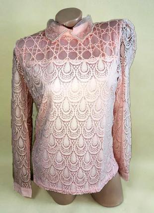 Суперцена. эффектная блуза рубашка. кружево, ажурный гипюр. р ...