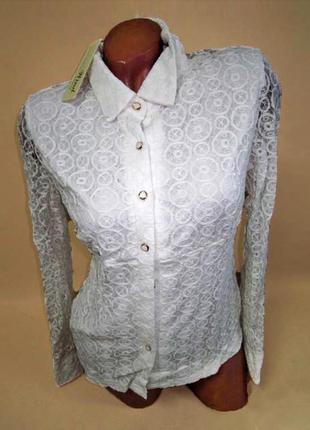 Суперцена. шикарная блуза рубашка. кружево, ажурный орнамент. ...