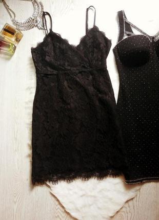 Черное ажурное мини короткое платье с гипюром в бельевом стиле...