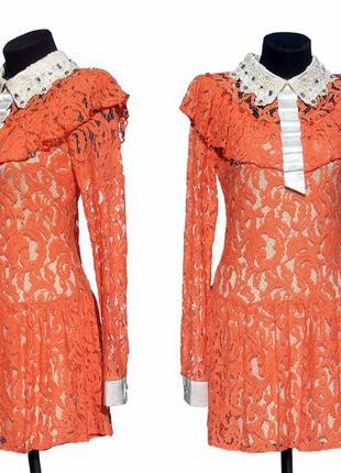 Суперцена. яркое кружевное платье. красивый воротник. новое, р. s