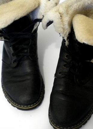 Женские зимние кожаные ботинки на натуральном меху