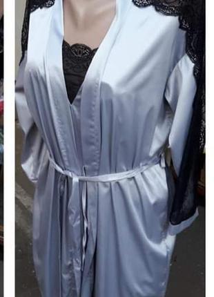 Комплект атласный с кружевом пеньюар и халат с рукавами 3/4, т...