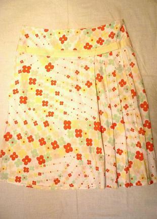 Яркая стильная элегантная натуральная котоновая юбка складка п...