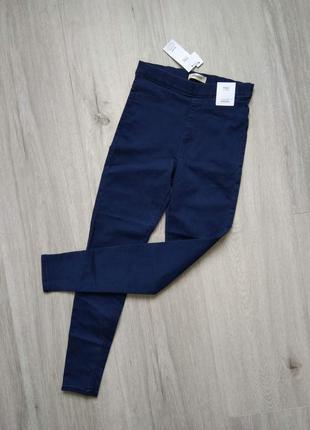 Джеггинсы женские синие marks & spencer джинсы с высокой посад...