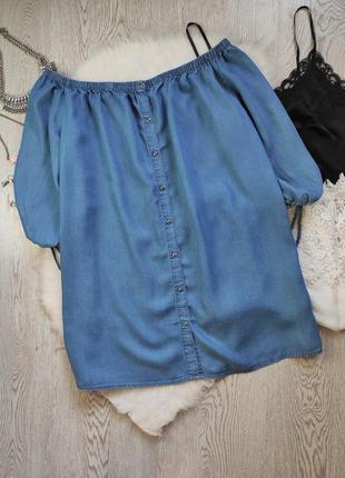 Синее голубое джинсовое платье трапеция с рукавами открытыми п...