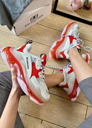 Женские кроссовки balenciaga triple s clear sole white/red