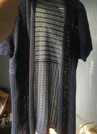 Кардиган накидка сетка синяя летняя кофта вязанная парео