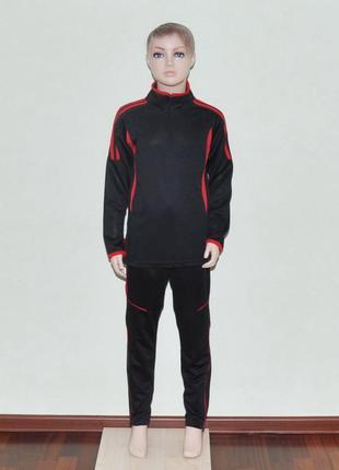 Футбольный тренировочный костюм black/red для детей (1756)