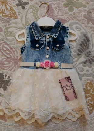 Джинсовое платье/сарафан для девочки 1 год
