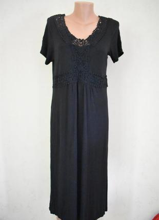 Трикотажное новое платье с кружевом